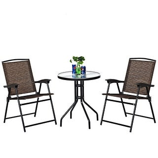 Link to Costway 3PC Bistro Patio Garden Furniture Set 2 Folding Chairs Glass - Set of 3 Similar Items in Patio Furniture