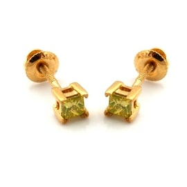 Brand New Pricess Cut Yellow Diamond Screw Back Stud Earring