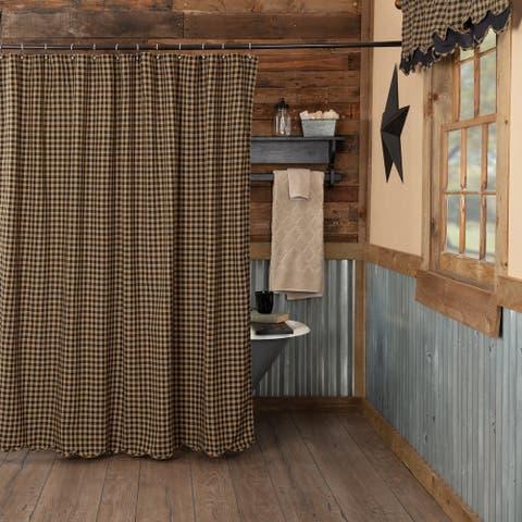 Primitive Bath VHC Check Shower Curtain Rod Pocket Cotton