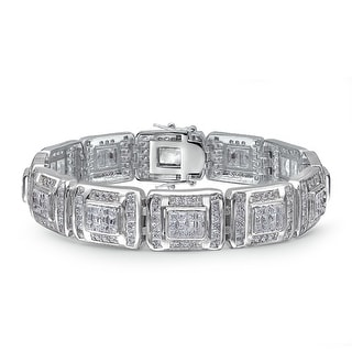 Bling Jewelry Invisible Cut CZ Mens Link Bracelet Rhodium Plated