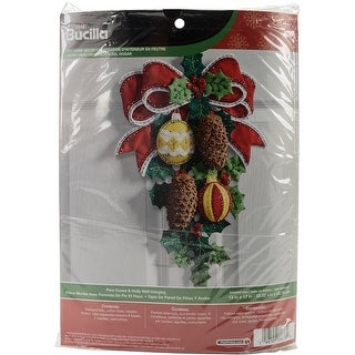 "Pinecones & Holly Wall Hanging Felt Applique Kit-13""X17"""