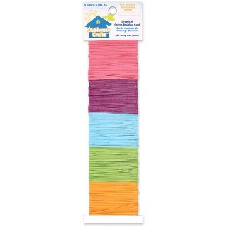 Clubhouse Crafts Cotton Braiding Cord-Tropical - 5yd Each of - tropical - 5yd each of 5 colors