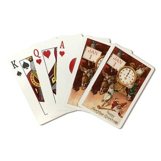 Happy New Year Greetings - Gnomes Partying Around a Clock - Vintage Holiday Art (Poker Playing Cards Deck)