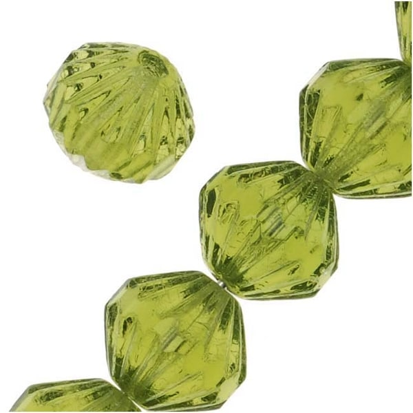 Czech Glass Fluted Cathedral Beads 9mm 'Olivine' Green (12 Beads)