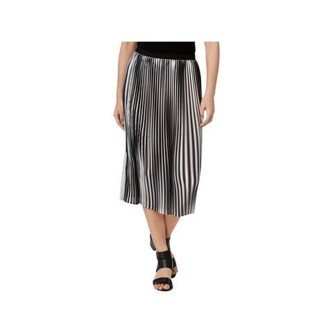 Eileen Fisher Womens Midi Skirt Pleated Striped
