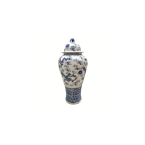 Handmade Sea Dragon Motif Extra Large Temple Decorative Jar