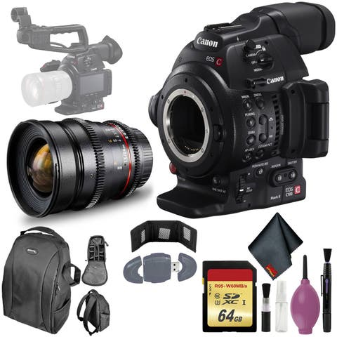 Canon C100 MarkII EOS Camera CMOS AF - 64GB - ROKINON 24MM T/1.5 LENS