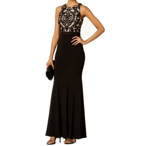 b97714c5bf Shop Xscape NEW Black Nude Women s Size 4 Damask Embellished Ball Gown -  Free Shipping Today - Overstock - 17797143