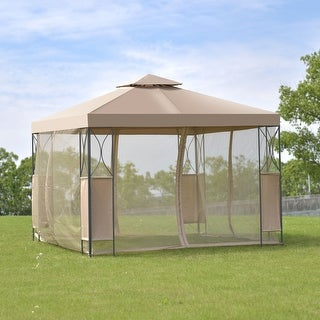 Costway 2-Tier 10'x10' Gazebo Canopy Tent Shelter Awning Steel Patio Garden Brown Cover