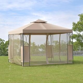 Costway 2 Tier 10x10 Gazebo Canopy Tent Shelter Awning Steel Patio Garden