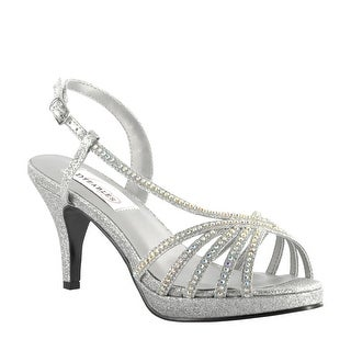 Strappy Metallic Rhinestone Pump