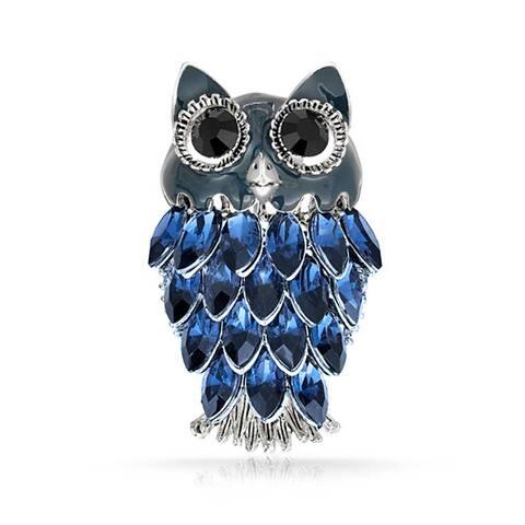 Fashion Large Owl Wise Brooch Pin For Women Blue Crystal Enamel