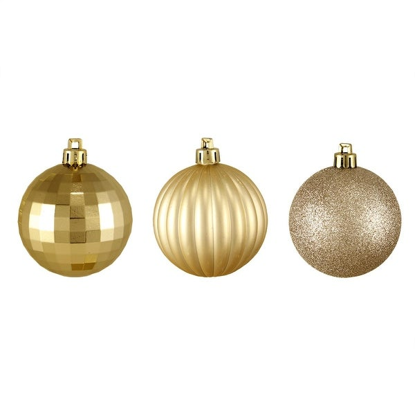 """100ct Champagne Gold 3-Finish Shatterproof Christmas Ball Ornaments 2.5"""" (60mm)"""