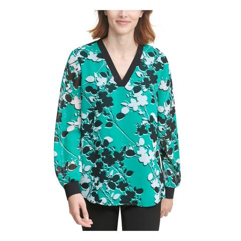 CALVIN KLEIN Womens Green Floral Long Sleeve V Neck Top Size XL