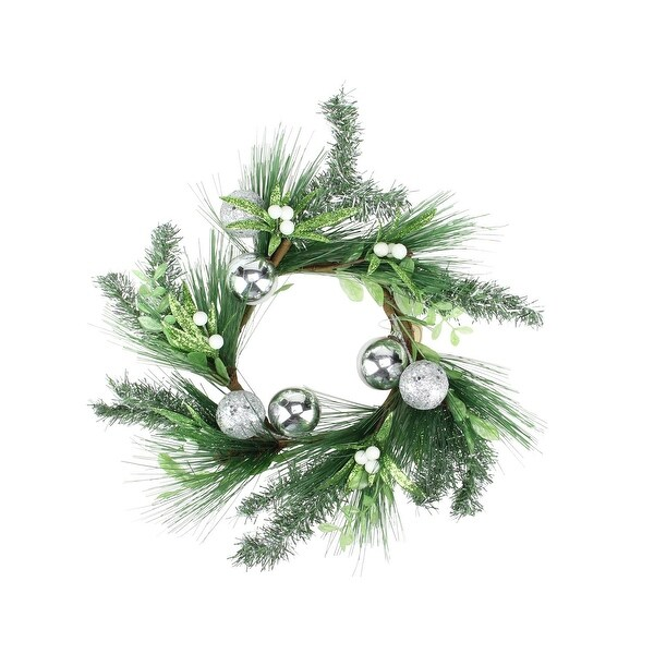 "12"" Christmas Green Mistletoe Candle Wreath with Silver Balls"