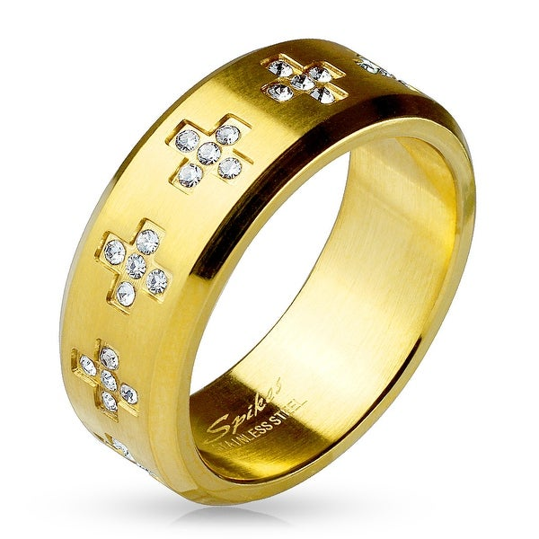 CZ Crosses Around Gold IP Stainless Steel Ring (Sold Ind.)