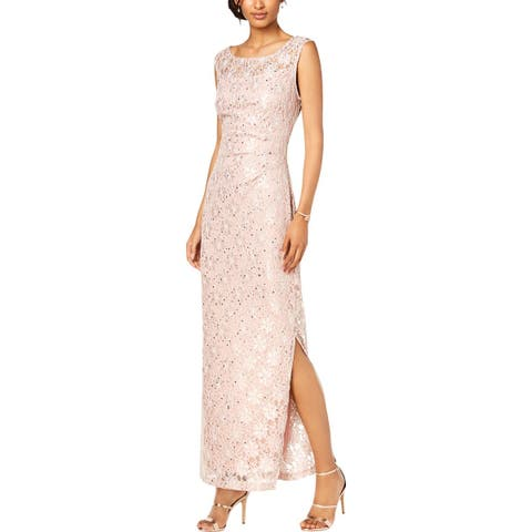 Connected Apparel Womens Petites Evening Dress Lace Side Slit