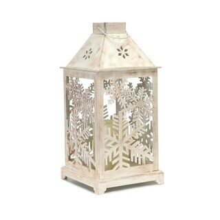 "13.5"" Decorative Antique White Candle Lantern with Flameless LED Candle"