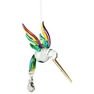 Woodstock Chimes Rainbow Maker Fantasy Glass Hummingbird Suncatcher, Spring Pastels