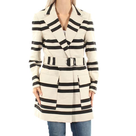 FRENCH CONNECTION Womens Ivory Belted Striped Trench Coat Size: 6