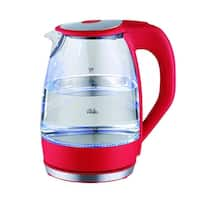 Culinary Edge ET1720 Electric Cordless Glass Tea & Water Kettle with LED Indicator & 360 Swivel Base, Red, 1.7 Liter