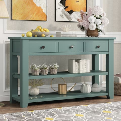 48'' Modern Console Table Sofa Table for Living Room with 3 Drawers and 2 Shelves