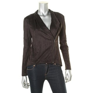 Jessica Simpson Womens Fiona Faux Suede Seamed Basic Jacket - S