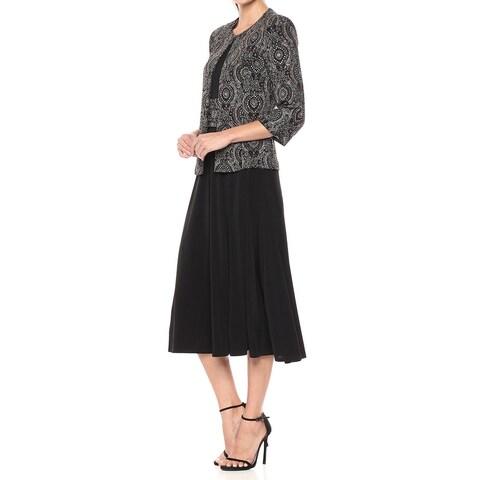 Jessica Howard Black Gold Womens Size 14 Sparkle A-Line Dress Set