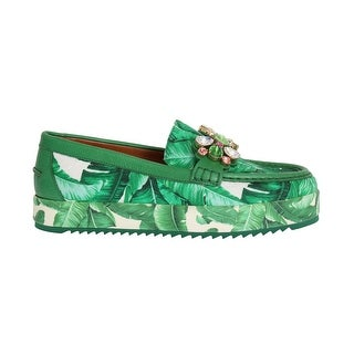 Dolce & Gabbana Green Banana Print Brocade Crystal Moccasins Shoes - eu39-us8-5