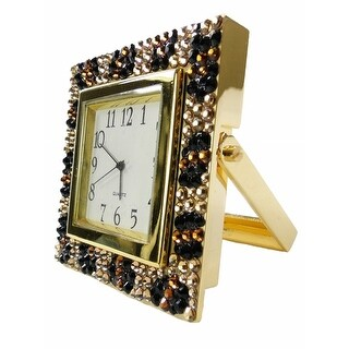 Women's Jeweled Crystal Embellished Desk Clock - Gold - os