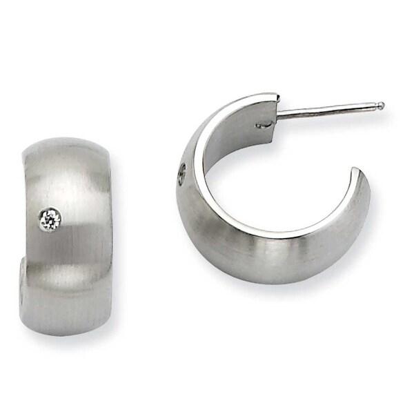 Chisel Stainless Steel CZ Satin J Post Hoop Earrings