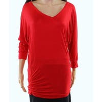 Johnny Red Women's Size Small S V-Neck Ruched 3/4 Sleeve Blouse