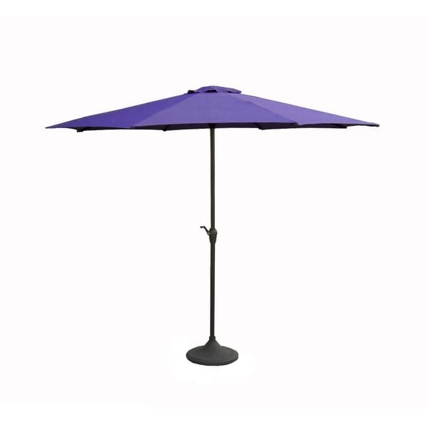 9' Outdoor Patio Market Umbrella with Hand Crank and Tilt - Purple and Brown