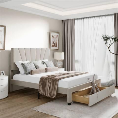 Queen Size Storage Platform Bed With Drawer,Velvet Upholstered-Beige