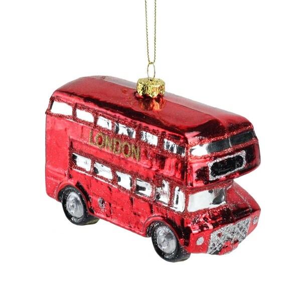 "4.25'' Red ""London"" Double Decker Glass Tour Bus Christmas Ornament"