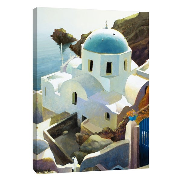 "PTM Images 9-105459 PTM Canvas Collection 10"" x 8"" - ""Postmark Santorini"" Giclee Buildings and Landmarks Art Print on Canvas"