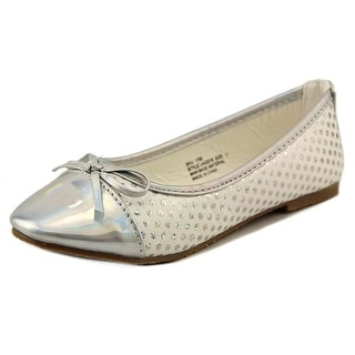 Laura Ashley Polka Dot Cap Toe Flat Youth Synthetic Silver Ballet Flats