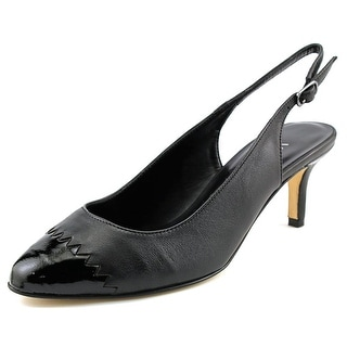 Vaneli Liddy Women N/S Pointed Toe Leather Black Slingback Heel