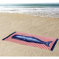 Seedling By Thomas Paul Whale Design Beach Towel, Red-Blue, 36x72 Inches - Blue/Red