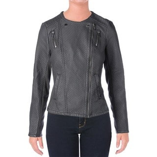 Calvin Klein Womens Motorcycle Jacket Faux Leather Textured