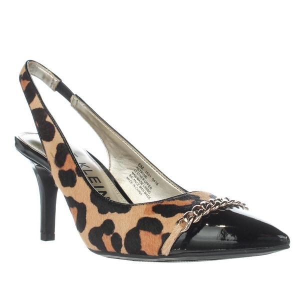 Anne Klein Yavari Slingback Chain Detail Pumps, Natural Multi/Black