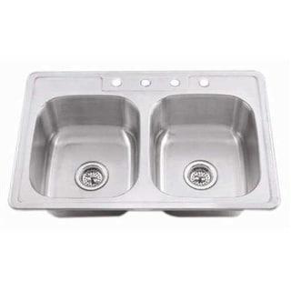 "Proflo PFSR3321653 33"" Double-Bowl Stainless Steel Kitchen Sink with 50/50 Basin Split"