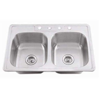 "Proflo PFSR3321654 33"" Double-Bowl Stainless Steel Kitchen Sink with 50/50 Basin Split"