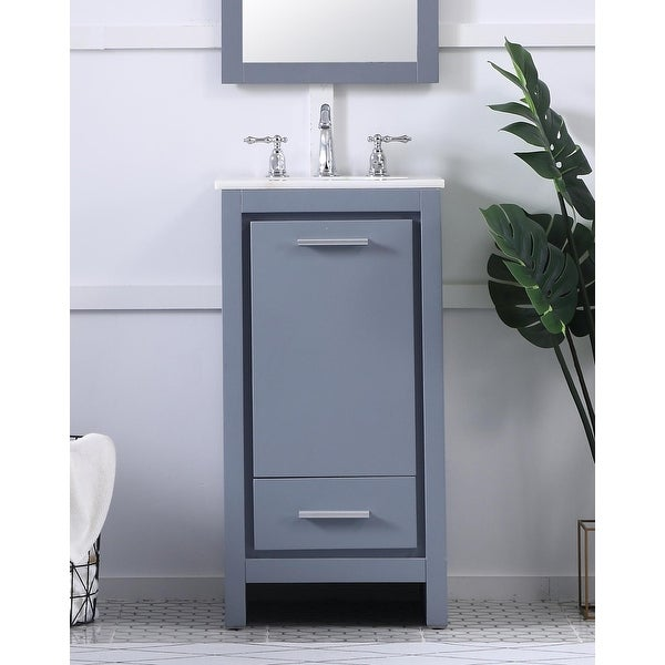 Pennsport Contemporary Sleek Bathroom Vanity Cabinet Set with Marble Top. Opens flyout.