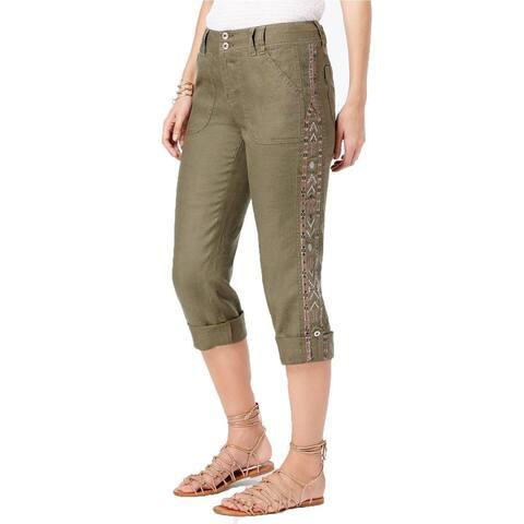 INC Women's Petite Linen Embelished Cargo Olive Drab Capri Pants (4P) - 4P