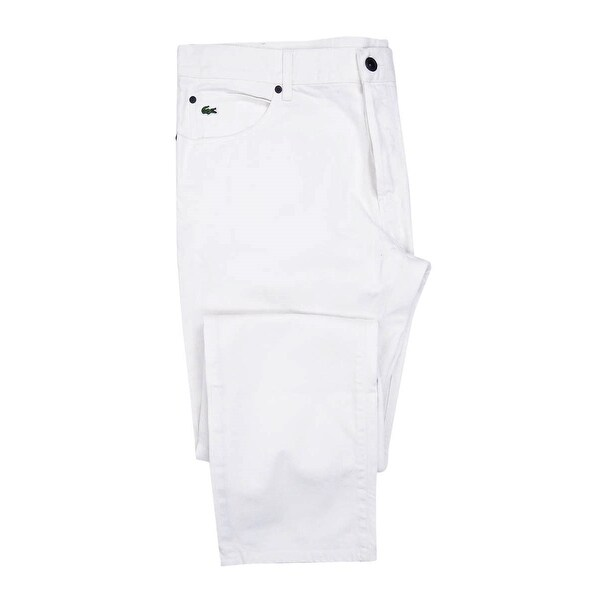 021506e3cdc4 Shop Lacoste Live Men s Button Fly White Denim Jeans - Blanc - 40X34 - Free  Shipping On Orders Over  45 - Overstock - 24105653