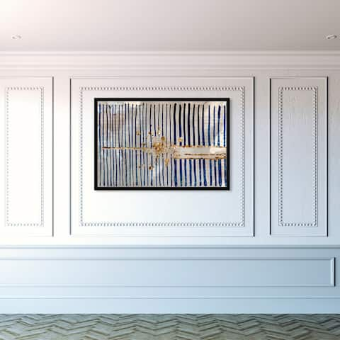 Oliver Gal 'Love Force Field' Abstract Framed Wall Art Prints Patterns - Blue, Gold