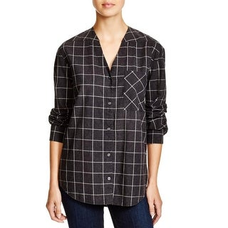Pure DKNY Womens Button-Down Top Window Pane V-Neck