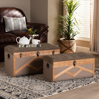 Link to Kala Modern and Contemporary Transitional 2-Piece Storage Trunk Set Similar Items in Decorative Accessories