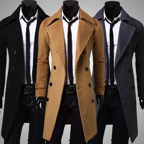 Mens Gentlemen Winter Warm Wool Double Breasted Long Overcoat Trench Coat Jacket Outwear